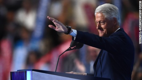 Former President Bill Clinton waves on Day 2 of the Democratic National Convention at the Wells Fargo Center, July 26, 2016 in Philadelphia, Pennsylvania.