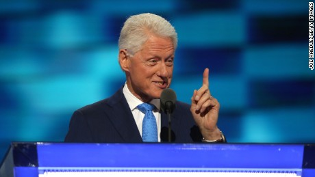 Former US President Bill Clinton delivers remarks on the second day of the Democratic National Convention at the Wells Fargo Center, July 26, 2016 in Philadelphia, Pennsylvania. Democratic presidential candidate Hillary Clinton received the number of votes needed to secure the party's nomination. An estimated 50,000 people are expected in Philadelphia, including hundreds of protesters and members of the media. The four-day Democratic National Convention kicked off July 25.