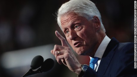 PHILADELPHIA, PA - JULY 26:  Former US President Bill Clinton delivers remarks on the second day of the Democratic National Convention at the Wells Fargo Center, July 26, 2016 in Philadelphia, Pennsylvania. Democratic presidential candidate Hillary Clinton received the number of votes needed to secure the party's nomination. An estimated 50,000 people are expected in Philadelphia, including hundreds of protesters and members of the media. The four-day Democratic National Convention kicked off July 25.  (Photo by Drew Angerer/Getty Images)