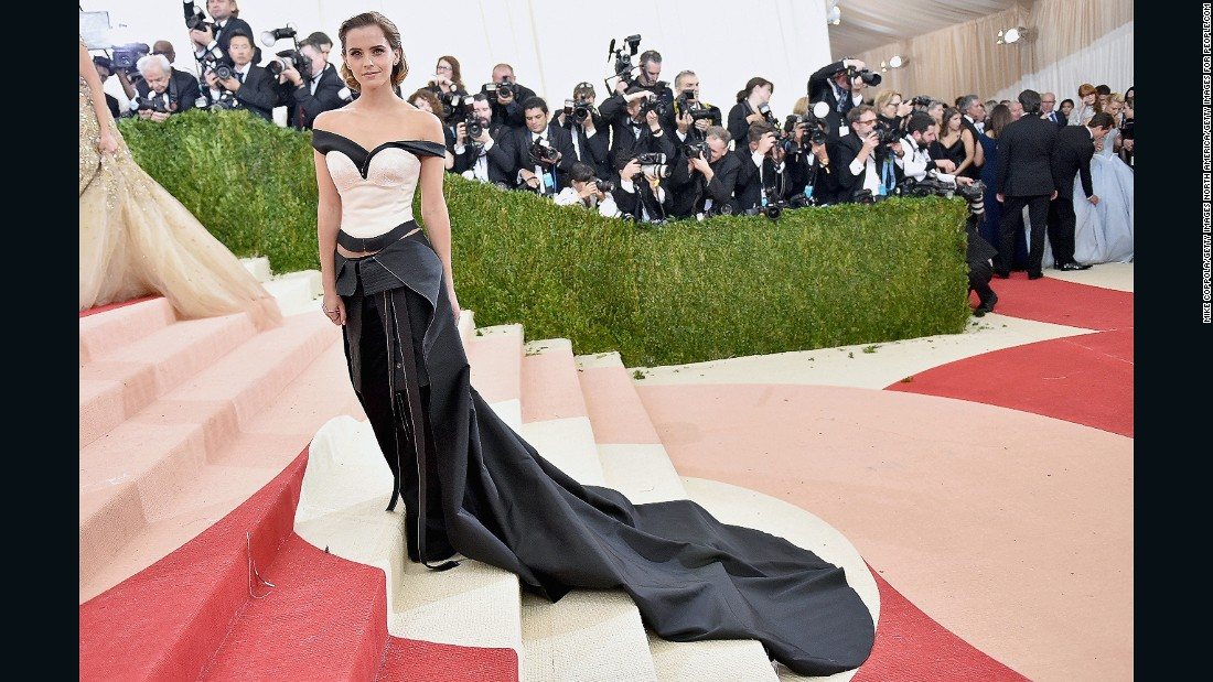 "Emma Watson wore a dress made of recycled plastic bottles at this year's<a href=""http://edition.cnn.com/2016/05/02/fashion/met-gala-2016/"" target=""_blank""> Met Gala</a>. Calvin Klein collaborated with Eco-Age and created a dress using satin, sustainable cotton and yarn made from plastic bottles."