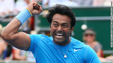 AUCKLAND, NEW ZEALAND - JANUARY 17:  Leander Paes of India celebrates after winning his doubles final match with partner Raven Klassen of South Aftric against Dominic Inglot of Great Britain and Florin Mergea of Romania during day seven of the 2015 Heineken Open Classic at Auckland Tennis Centre on January 17, 2015 in Auckland, New Zealand.  (Photo by Simon Watts/Getty Images)