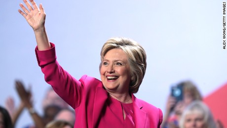 WASHINGTON, DC - JULY 05:  Democratic presidential candidate Hillary Rodham Clinton waves after she addressed the 95th Representative Assembly of the National Education Association July 5, 2016 in Washington, DC. Clinton will be joined by President Barack Obama at a campaign stop in Charlotte, North Carolina later today.  (Photo by Alex Wong/Getty Images)