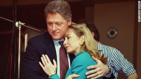 Arkansas Governor Bill Clinton comforts Hillary Rodham Clinton on the set of the news program '60 Minutes' after a stage light unexpectedly broke loose from the ceiling and knocked her down, January 26, 1992. (Photo by CBS Photo Archive/Getty Images)