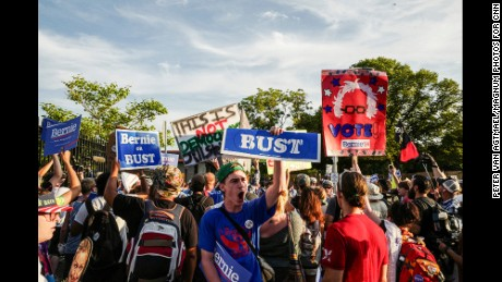 2016. Philadelphia, Pennsylvania. USA. One of dozens of protests by Bernie Sanders supporters outside the gates of the DNC.