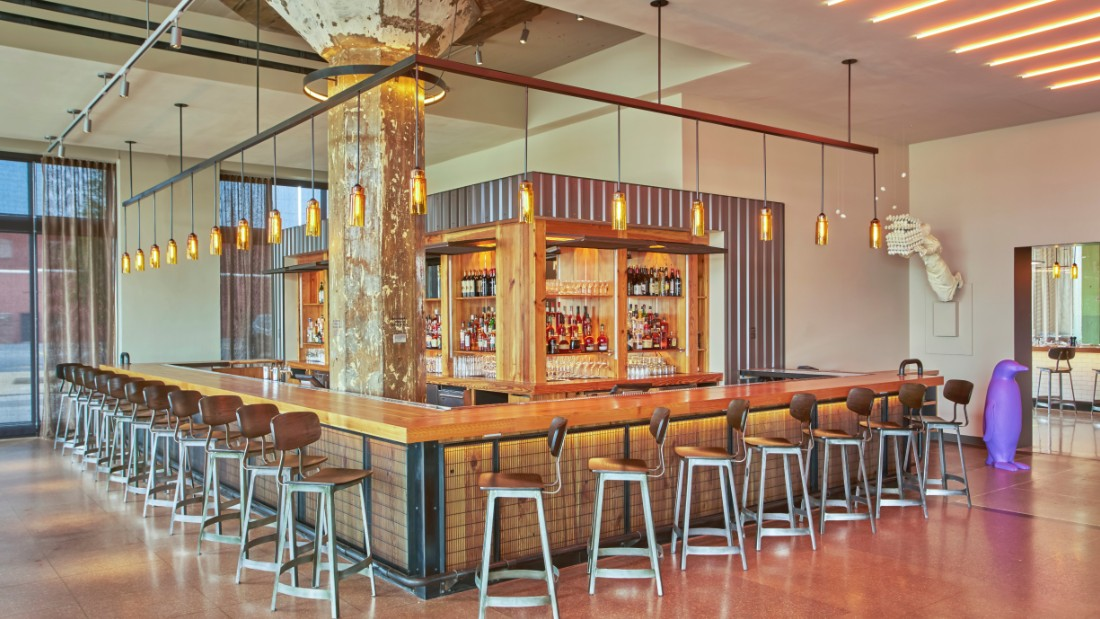 Original concrete columns and other historic elements have been incorporated into 21c spaces that now mix contemporary art, fine dining and lodging. 21c's Oklahoma City location opened in June.