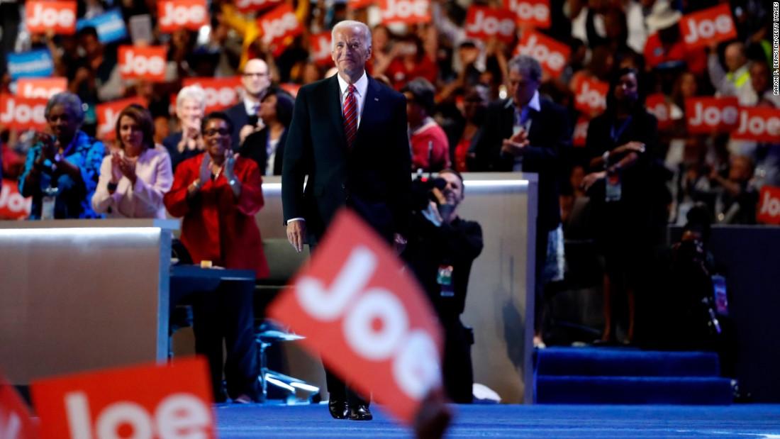 Biden walks to the podium before delivering his speech.
