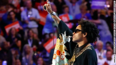 PHILADELPHIA, PA - JULY 27:  Recording artist Lenny Kravitz performs during the evening session on the third day of the Democratic National Convention at the Wells Fargo Center, July 27, 2016 in Philadelphia, Pennsylvania. Democratic presidential candidate Hillary Clinton received the number of votes needed to secure the party's nomination. An estimated 50,000 people are expected in Philadelphia, including hundreds of protesters and members of the media. The four-day Democratic National Convention kicked off July 25.  (Photo by Aaron P. Bernstein/Getty Images)