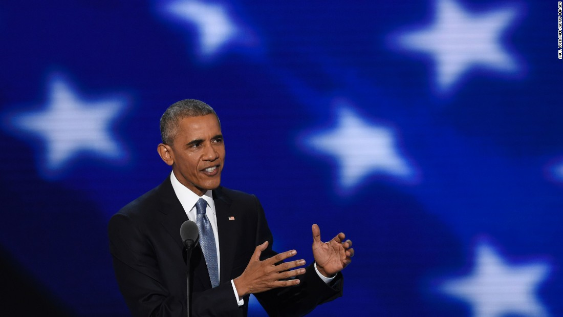 """Obama told the crowd at the Wells Fargo Center that he is """"more optimistic about the future of America than ever before."""" He contrasted it with the """"pessimistic vision"""" of America he heard during the Republican convention last week. """"There were no serious solutions to pressing problems -- just the fanning of resentment, and blame, and anger, and hate,"""" he said."""