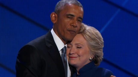 Hillary Clinton joins President Obama on stage at DNC