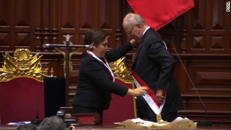 NEW PRESIDENT OF PERU   PEDRO PABLO KUCZYNSKI ASSUMES  HIS POST  AND THE NATIONAL ANTHEM
