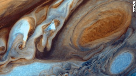 This photo of Jupiter's Red Spot was taken on March 5, 1979 during the Voyager mission. The image was re-processed on November 6, 1998.