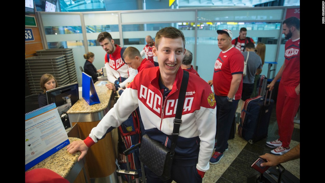 Volleyball player Dmitrij Volkov checks in ahead of the Russian team's journey to Rio.
