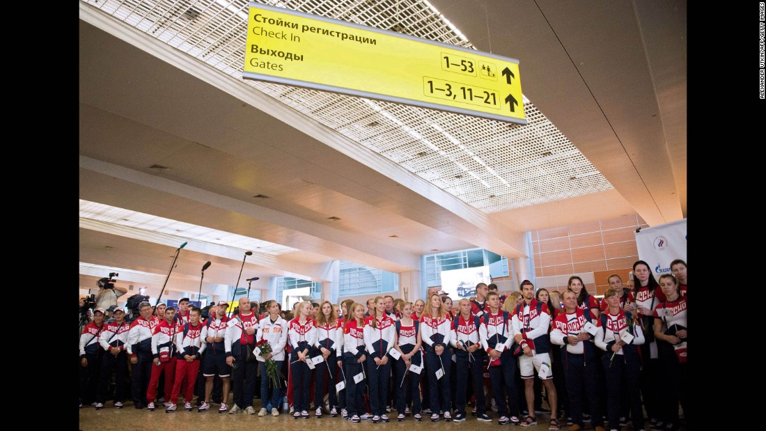 Some of the athletes cleared to compete in Brazil gathered for a ceremony at the airport.