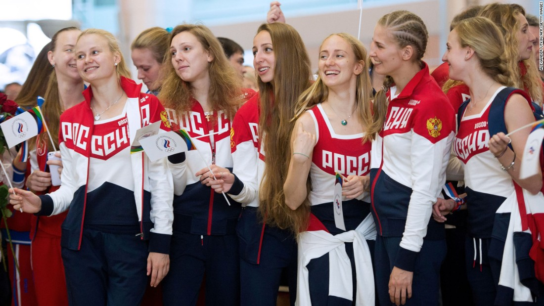 The Russian Olympic team attended a farewell ceremony at Moscow's Sheremetyevo airport in July. Many of the country's athletes won't be at Rio 2016 as a result of the doping scandal that has overshadowed the Olympics.