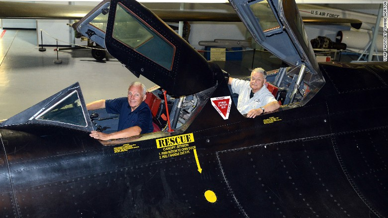 "Eldon ""Al"" Joersz, front, and George ""GT"" Morgan, returned to the cockpit Thursday of the plane they flew when they set the world speed record in 1976."