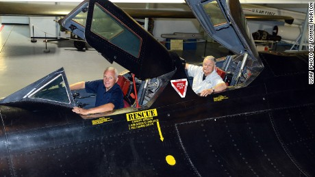 """Eldon """"Al"""" Joersz, front, and George """"GT"""" Morgan, returned to the cockpit Thursday of the plane they flew when they set the world speed record in 1976."""