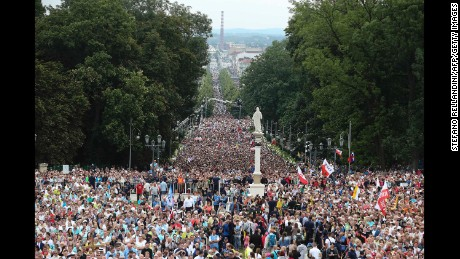 Crowds of the faithful attend as Pope Francis leads a mass at the Jasna Gora Monastery in Czestochowa, Poland on Thursday, July 28. Pope Francis visits Poland for an international Catholic youth festival with a mission to encourage openness to migrants.