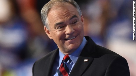 Democratic Nominee for Vice President Tim Kaine speaks during the Democratic National Convention at the Wells Fargo Center in Philadelphia, Pennsylvania, July 27, 2016.