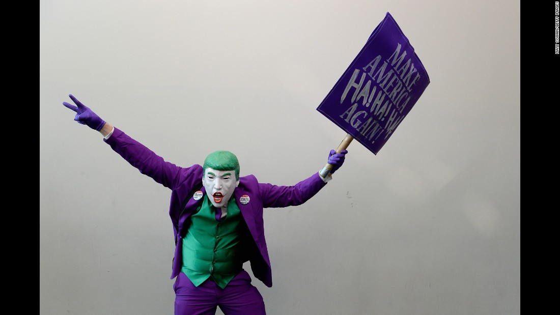 """A """"cosplayer"""" combines the Joker character and presidential candidate Donald Trump during San Diego Comic-Con on Saturday, July 23. <a href=""""http://www.cnn.com/2016/07/23/entertainment/gallery/comic-con-cosplay-costumes-2016/"""" target=""""_blank"""">See more costumes from Comic-Con</a>"""