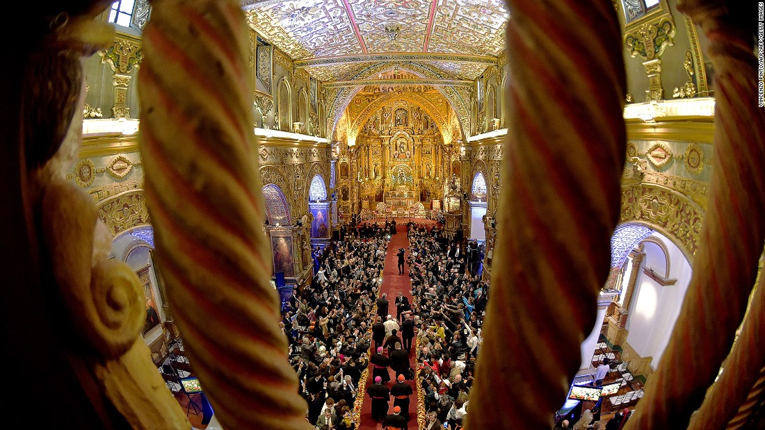Quito is also home to many beautiful old churches. Here, Pope Francis enters San Francisco Church, a 16th-century Roman Catholic church in Quito.