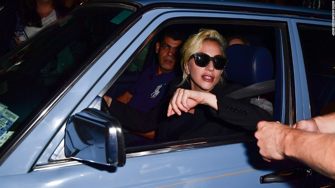 Pop star Lady Gaga drives on the streets of New York City on Tuesday, July 26.