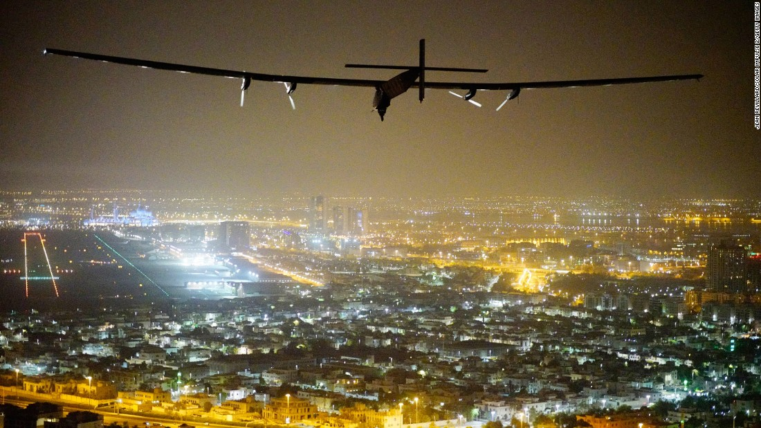 """The Solar Impulse 2 prepares for its historic landing Tuesday, July 26, in Abu Dhabi, United Arab Emirates. The solar-powered plane, flown by Swiss pilots Bertrand Piccard and Andre Borschberg, <a href=""""http://www.cnn.com/2016/07/26/world/solar-impulse-returns-jensen/"""" target=""""_blank"""">traveled around the world without using a single drop of fuel.</a> The journey was completed in 17 stages across four continents."""