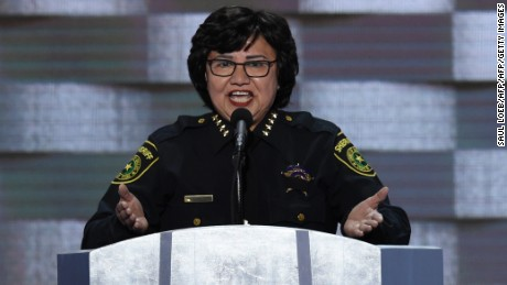 Dallas Sheriff Lupe Valdez addresses delegates on the fourth and final day of the Democratic National Convention at Wells Fargo Center on July 28, 2016 in Philadelphia, Pennsylvania.   / AFP / SAUL LOEB        (Photo credit should read SAUL LOEB/AFP/Getty Images)