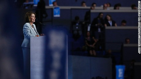 House Minority Leader Nancy Pelosi, a Democrat from California, speaks during the Democratic National Convention (DNC) in Philadelphia, Pennsylvania, U.S., on Thursday, July 28, 2016. Division among Democrats has been overcome through speeches from two presidents, another first lady and a vice-president, who raised the stakes for their candidate by warning that her opponent posed an unprecedented threat to American diplomacy.