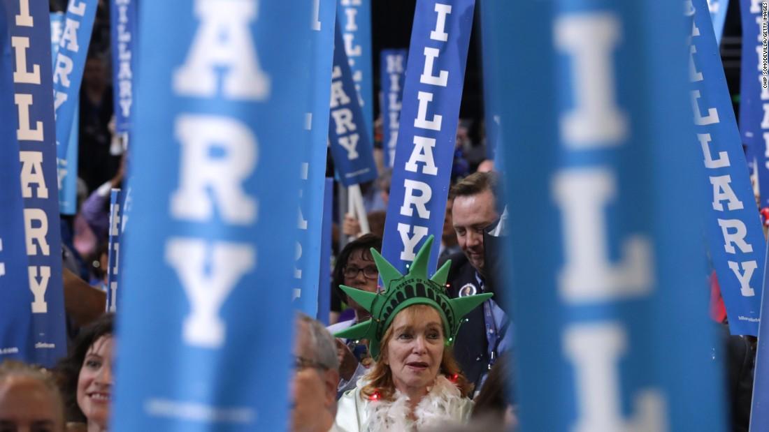 Delegates cheer on Thursday.