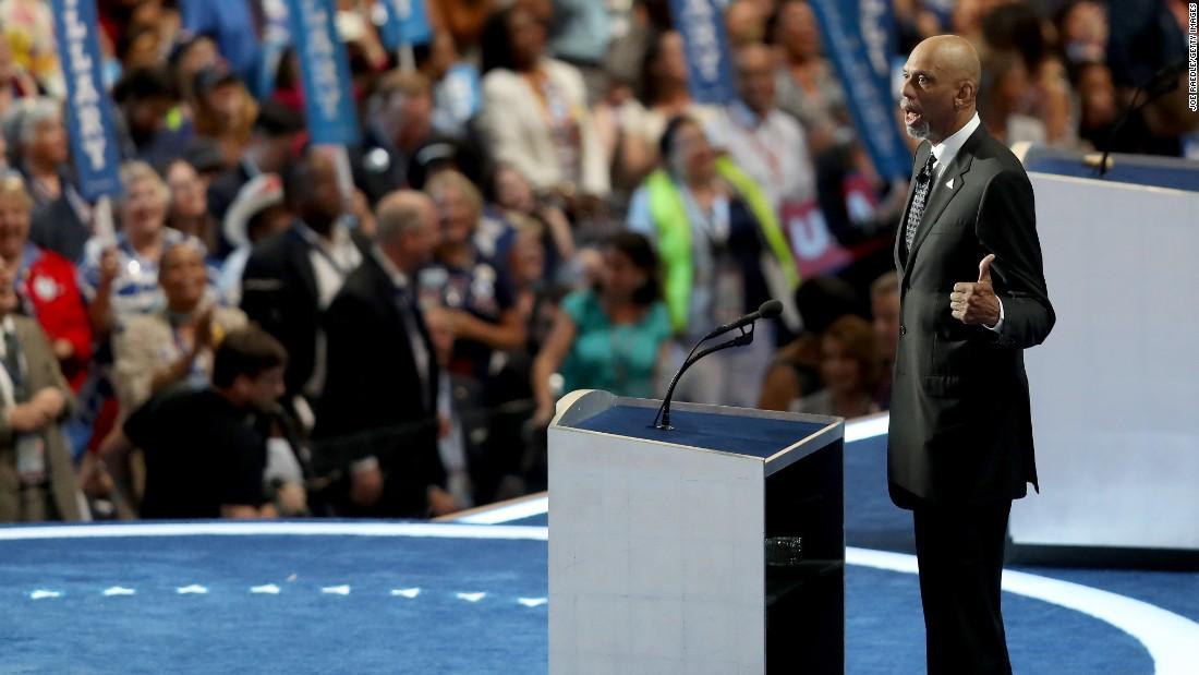 Basketball legend Kareem Abdul-Jabbar talks at the convention on Thursday.