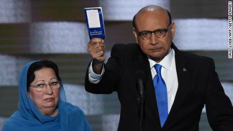 Khizr Khan holds his personal copy of the US Constitution while addressing delegates on the fourth and final day of the Democratic National Convention at Wells Fargo Center on July 28, 2016 in Philadelphia, Pennsylvania.   Khizr Khans son, Humayun S. M. Khan was a University of Virginia graduate and enlisted in the US Army. Khan was one of 14 American Muslims who died serving the United States in the ten years after the September 11, 2001 terrorist attacks.