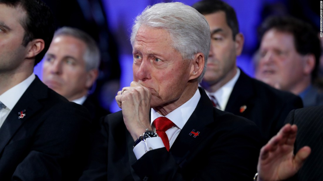 Bill Clinton becomes emotional Thursday as he listens to Chelsea introduce her mother.
