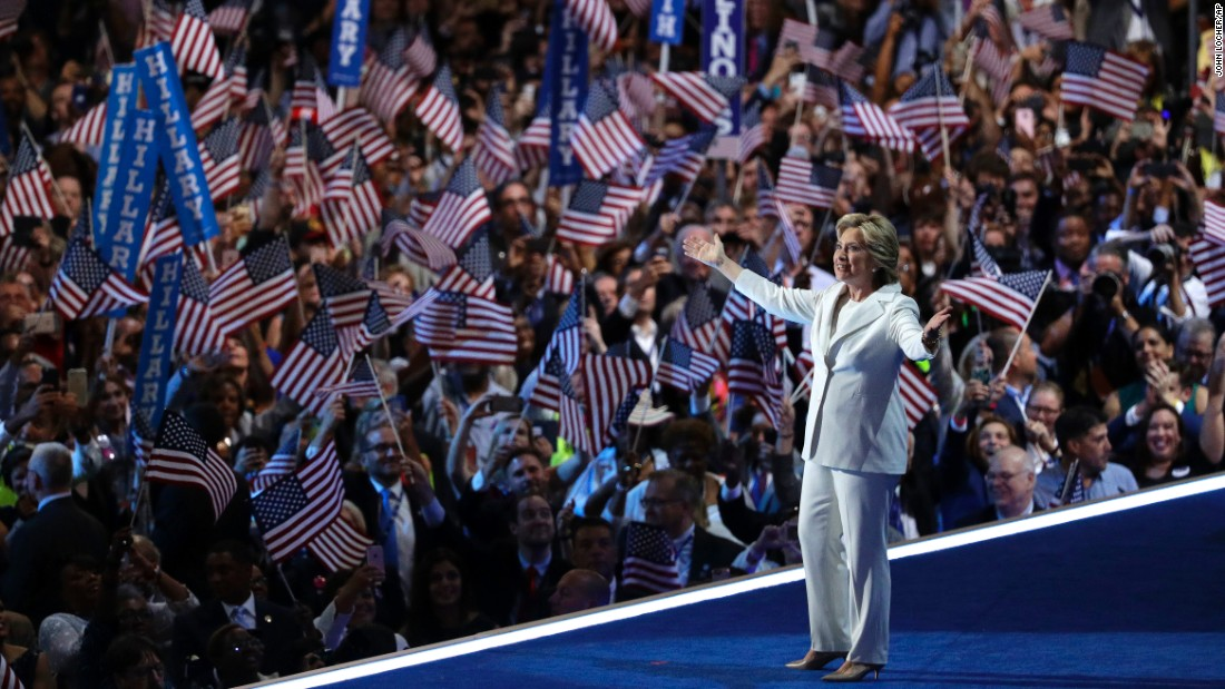 """Hillary Clinton, the Democratic Party's presidential nominee, takes the stage Thursday, July 28, at the <a href=""""http://www.cnn.com/2016/07/25/politics/gallery/democratic-convention/index.html"""" target=""""_blank"""">Democratic National Convention</a> in Philadelphia. She is the first woman in U.S. history to lead the ticket of a major political party."""
