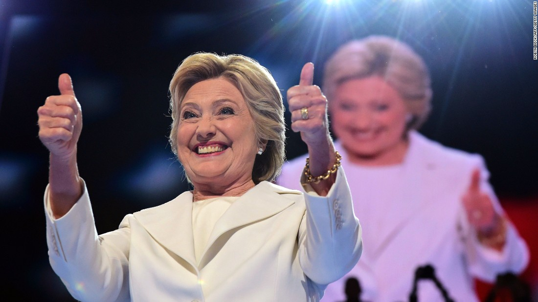Clinton acknowledges the crowd before her speech.
