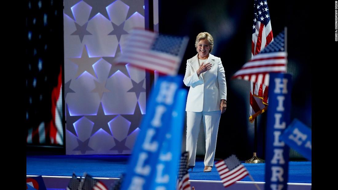 Clinton arrives for her speech.