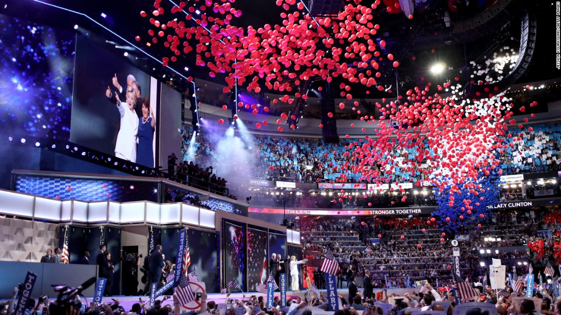 Balloons fall from the ceiling of the Wells Fargo Center after Clinton's speech.