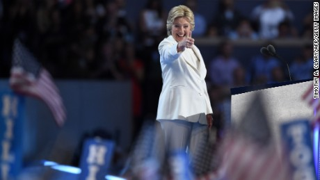 Presidential nominee Hillary Clinton gestures after speaking during the fourth and final day of the Democratic National Convention on July 28, 2016 in Philadelphia, Pennsylvania.