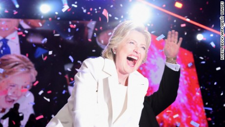 Democratic presidential nominee Hillary Clinton celebrates on stage after she accepted the nomination during the fourth and final night of the Democratic National Convention at the Wells Fargo Center, July 28, 2016 in Philadelphia, Pennsylvania.