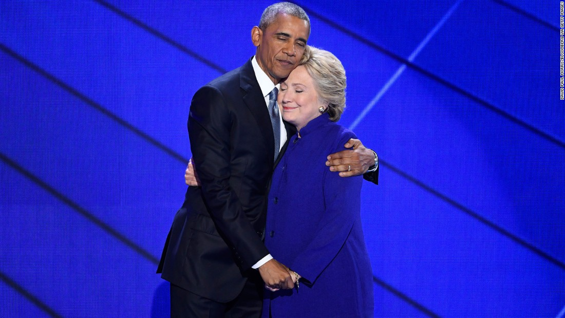 "Obama hugs Clinton after he gave a speech at the Democratic National Convention in Philadelphia. The President said Clinton is ready to be commander in chief. ""For four years, I had a front-row seat to her intelligence, her judgment and her discipline,"" he said, referring to Clinton's stint as secretary of state."