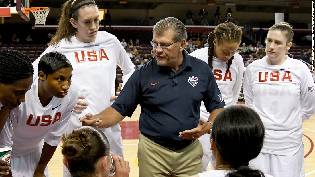 Geno Auriemma (center), is gunning for his second straight gold as head coach of the USA Basketball women's national team. He is also coming off his 11th NCAA title with the Connecticut Huskies, a record. UConn were 38-0 and notched their fourth college basketball title in a row.