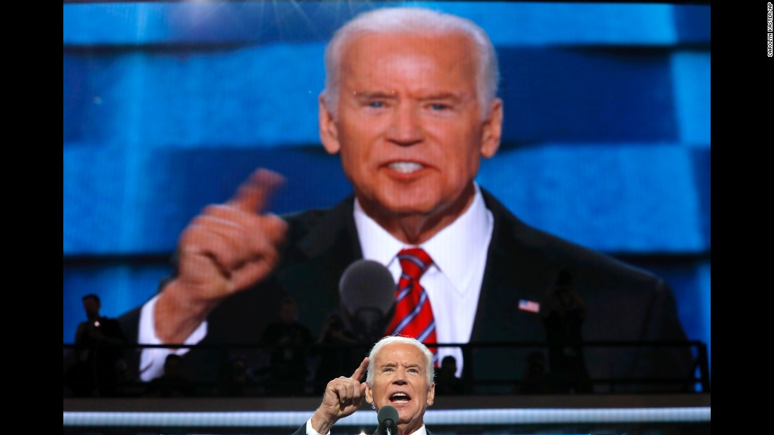 "Vice President Joe Biden speaks at the Democratic convention on Wednesday, July 27. During his speech, he went after Republican nominee Donald Trump, saying ""this guy doesn't have a clue about the middle class -- not a clue. Actually, he has no clue, period."""