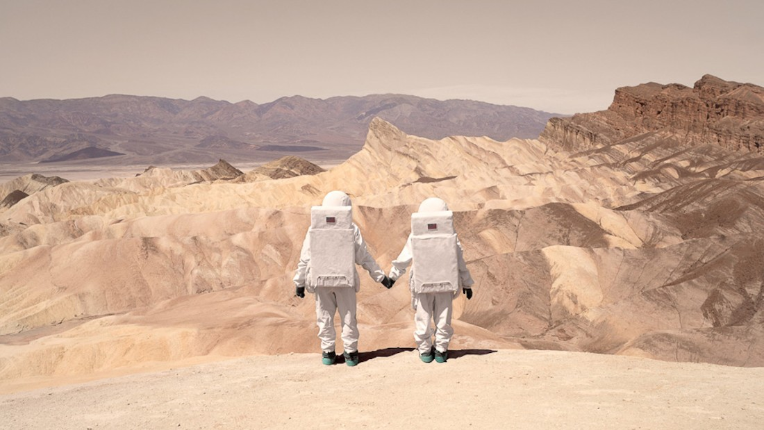 """""""Using the Red Planet as a background was a way to emphasize our behaviors as tourists living in the 21st century,"""" Mauve says."""