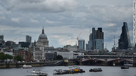 St Paul's Cathedral and buildings in City of London are seen under banks of cloud in central London on June 27, 2016.  Britain began preparations to leave the European Union on Monday but said it would not be rushed into a quick exit, as markets plunged in the wake of a seismic referendum despite attempts to calm jitters. / AFP / BEN STANSALL        (Photo credit should read BEN STANSALL/AFP/Getty Images)