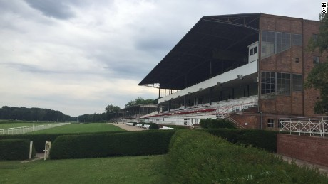 The grandstand at Hoppegarten racetrack on the outskirts of Berlin, Germany.