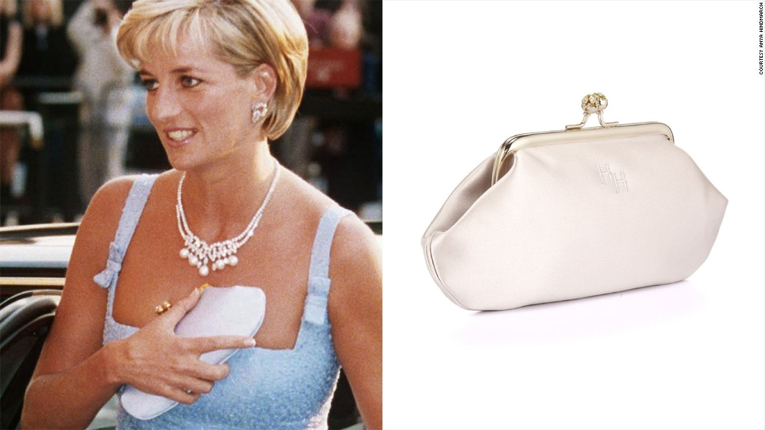 """Diana, Princess of Wales was also a fan, referring to the Anya clutch as her """"cleavage bag"""" because she would use it to hide her décolletage when coming out of cars."""