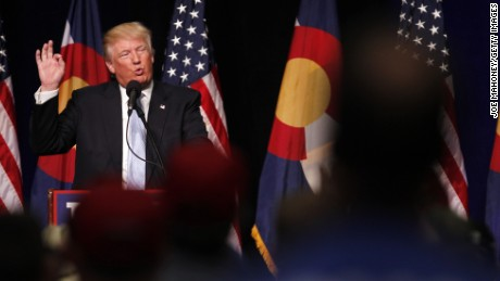 Republican presidential nominee Donald Trump at the Gallogly Event Center on the campus of the University of Colorado on July 29, 2016 in Colorado Springs, Colorado.