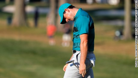 Rory McIlroy reacts to a missed putt during the second round of the 2016 PGA Championship.
