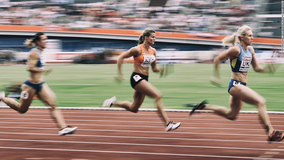 Schippers in action during the women's 4x100m relay final at the European Athletics Championships at the Olympic Stadium on July 10, 2016 in Amsterdam, Netherlands.