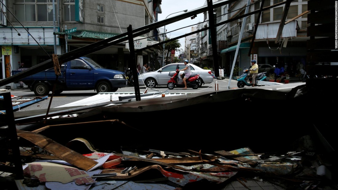 """Damaged buildings and debris are seen on Saturday, July 9, after <a href=""""http://www.cnn.com/2016/07/06/world/super-typhoon-nepartak-taiwan/"""" target=""""_blank"""">Typhoon Nepartak</a> passed through Taitung, Taiwan."""