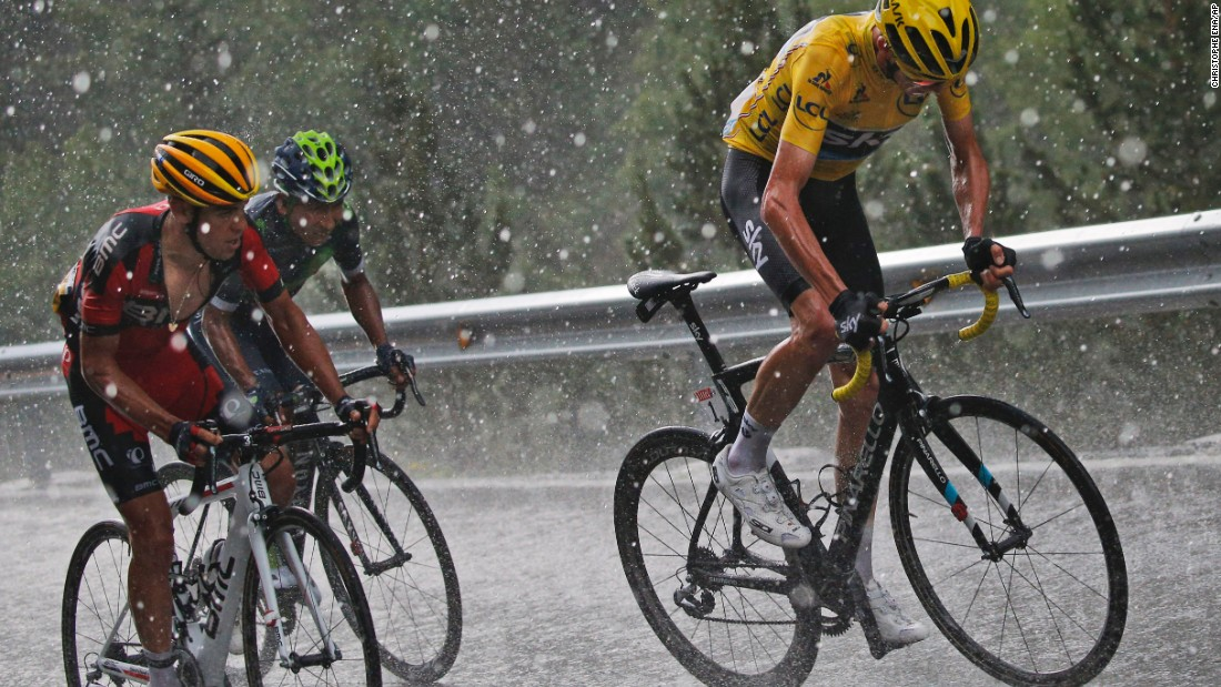 """From left, cyclists Richie Porte, Nairo Quintana and Chris Froome compete in the ninth stage of the Tour de France on Sunday, July 10. Froome would go on <a href=""""http://www.cnn.com/2016/07/24/sport/tour-de-france-2016/index.html"""" target=""""_blank"""">to win the event</a> for the third time in his career."""